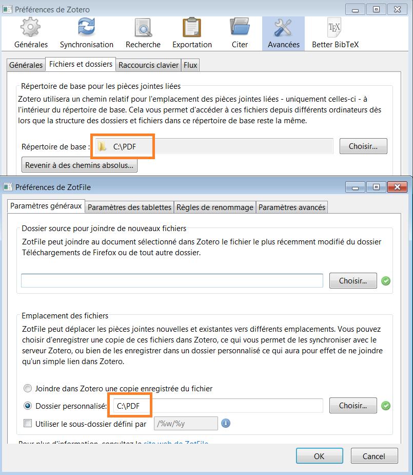 copie d'écran : configuration des chemins relatifs dans les préférences de ZotFile et Zotero