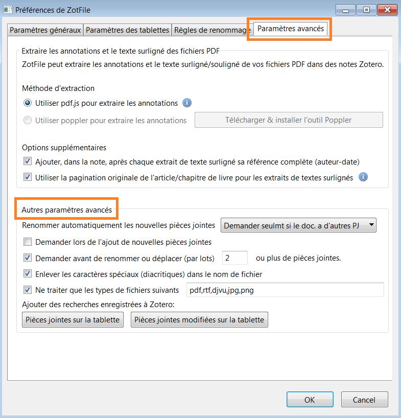 copies d'écran : préférences de ZotFile : paramètres avancés