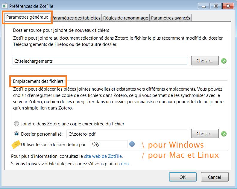 copie d'écran : préférences de ZotFile : définir l'emplacement des fichiers